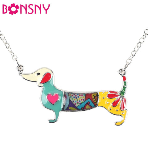 Bonsny Statement Metal Alloy Enamel Dachshund Dog Choker Necklace Chain Collar Pendant 2016 Fashion New Jewelry For Women