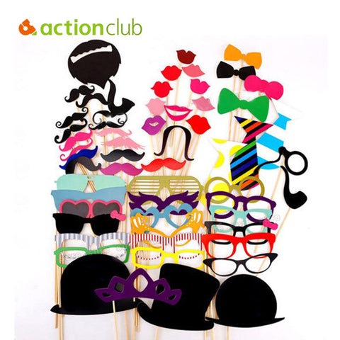 Actionclub Wedding Decoration 58Pcs/Lot DIY Mask Photo Booth Props Mustache On A Stick Birthday Event  Party Supplies Decoration