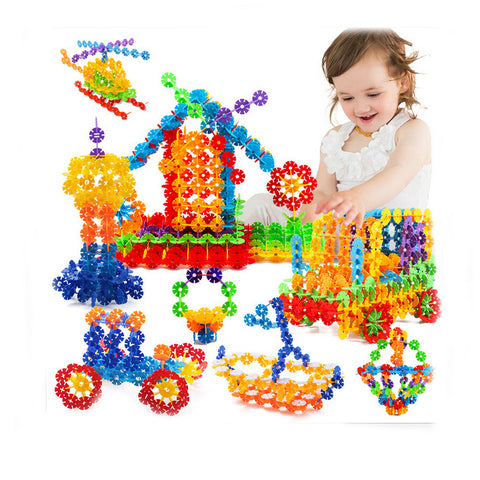 400 pcs Snow Snowflake Building Blocks Toy Bricks DIY Assembling Early Educational Learning Classic Toys Kids Gift