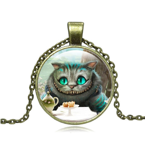 Cheshire Cat Pendant Necklace Glass Cabochon Vintage Bronze Statement Chain Necklace For Women Fashion Jewelry