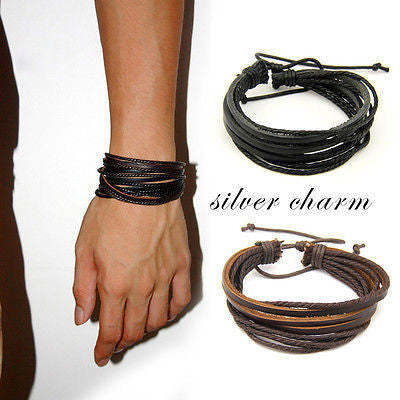 2pcs/lot Hot Unisex Charm Surfer Tribal Wrap Multilayer Genuine Leather Bracelet For Men Women Jewelry