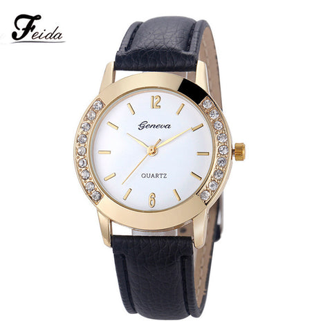 Brand Watch Women Ladies Luxury Diamond Leather Quartz Wrist Dress Watch Montre femme Clock Female Wholesale Relojes mujer 2016