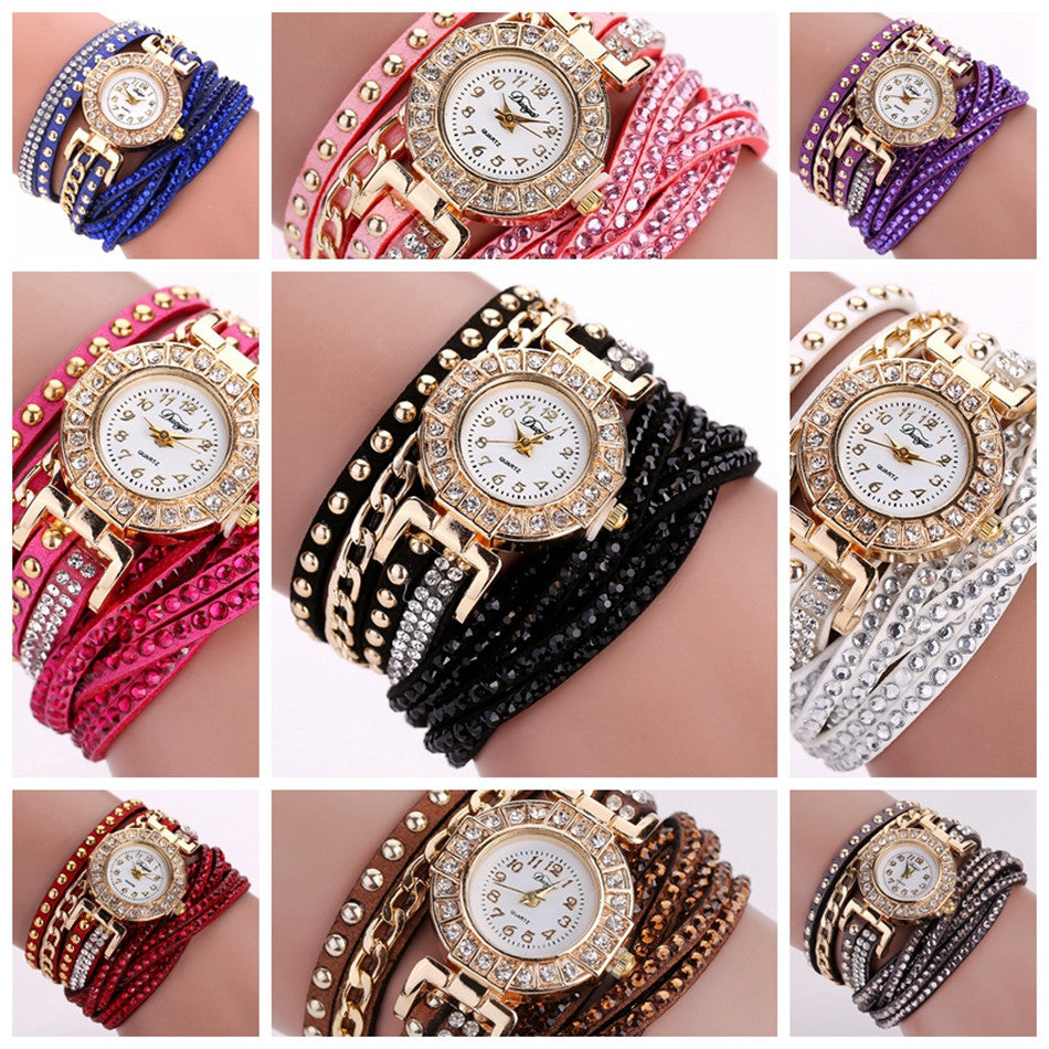 Duoya Watch Women Brand Luxury Gold Fashion Crystal Rhinestone Bracelet Women Dress Watches Ladies Quartz Wristwatches