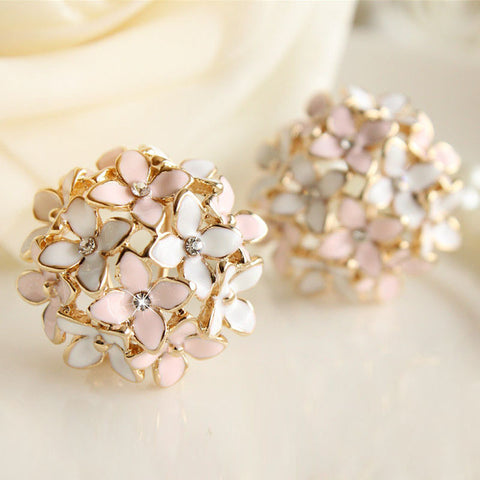 New Fashion Pink Blue Flower Four Leaf Stud Earrings Clove Designer Spring pendientes Brincos for Womens