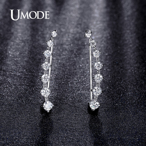 UMODE Four Prong Setting CZ Crystal White / Rose Gold Plated Dipper Hook Stud Earrings Jewelry for Women Boucle D'oreille UE0197