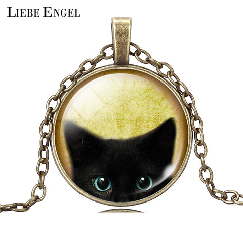 Black Cat Necklace Glass