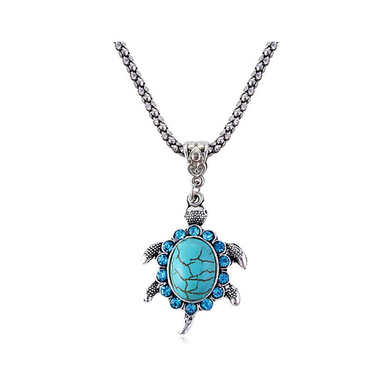 Tibetan Silver Tone Turquoise Turtle Necklace Natural Stone - Voodeal