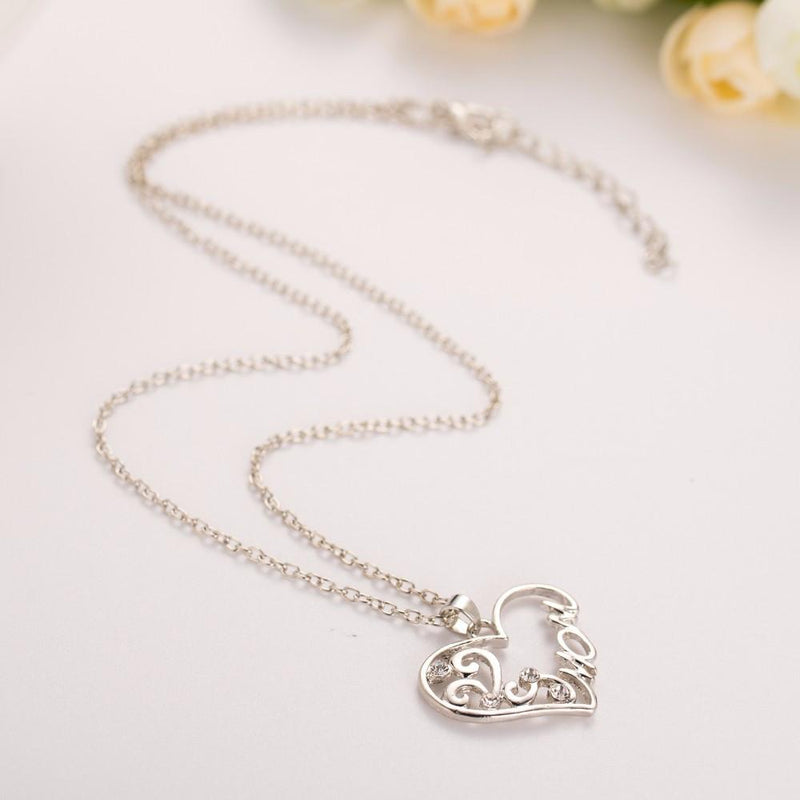 "Mother and child love ""Mom"" crystal pendant necklace - Voodeal"