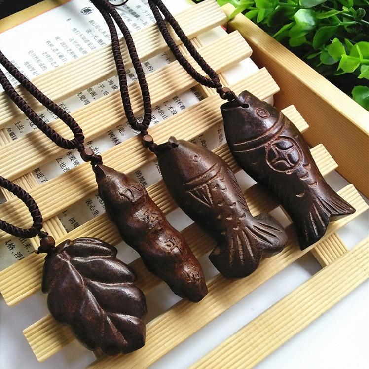 Vintage Wooden Fish Long Necklace - Voodeal