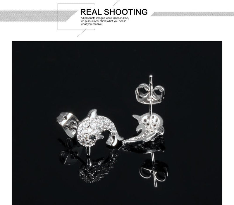 Crystal Dolphin Earrings - Voodeal