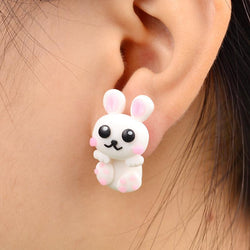 Handmade Polymer Clay Pink White Rabbit Stud Earrings - Voodeal