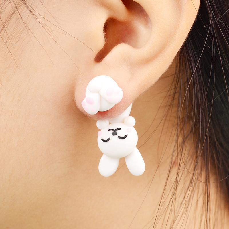 Handmade Polymer Clay White Rabbit Stud Earrings - Voodeal