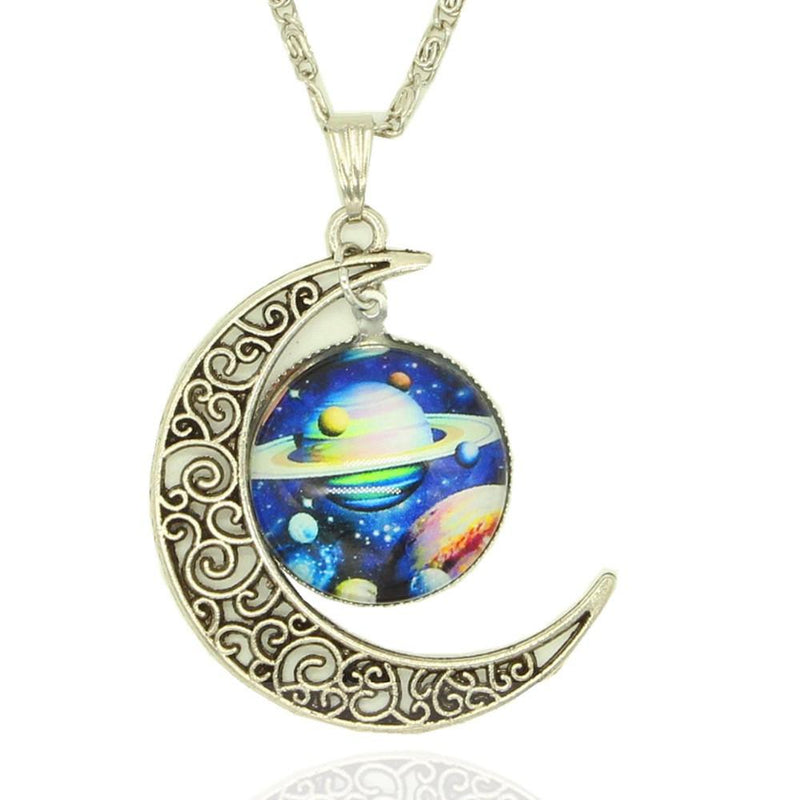 Moon - Glass Galaxy Necklace - Voodeal