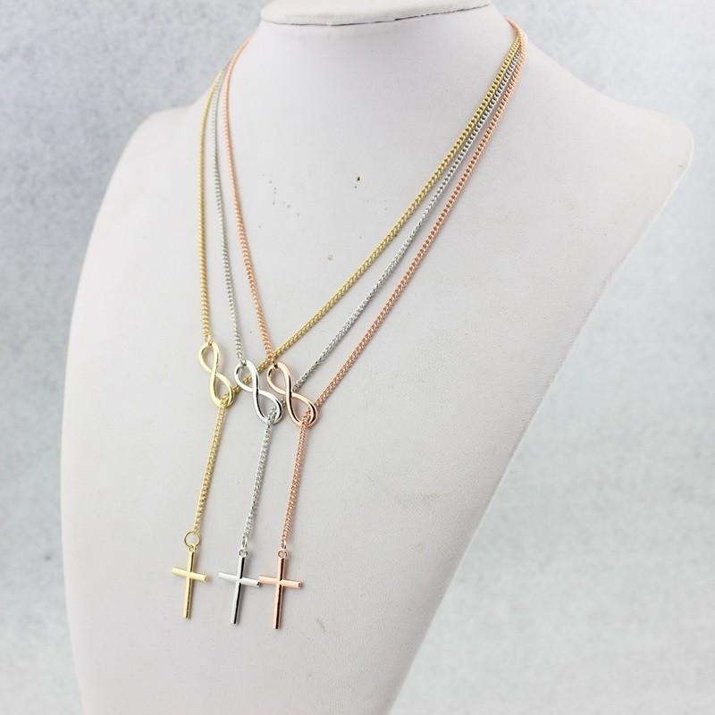 Gold, Silver & Rose Gold Infinity Lariat Christian Cross Necklace - Voodeal