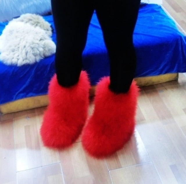 Women Snow Boots - Furry Womens Snow Boots - Voodeal