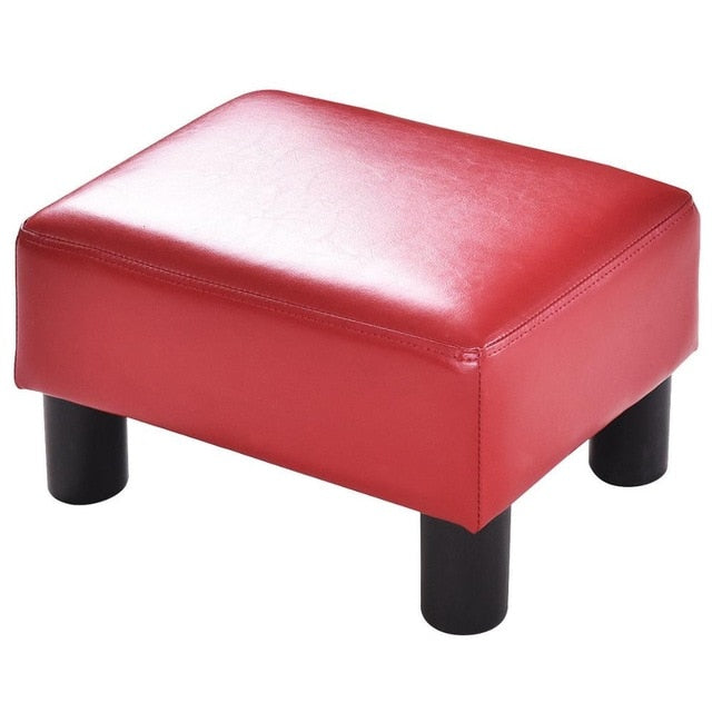 Leather Ottoman - Rectangular Small Ottoman Footstool | White & Red