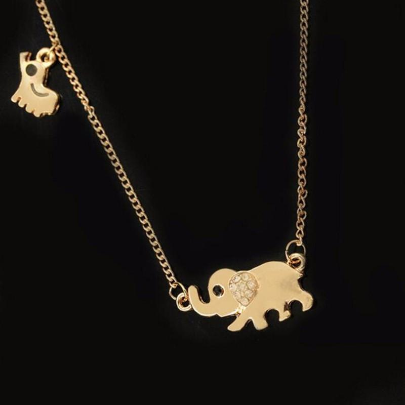Elephant Family Charming Crystal Chain Necklace - Voodeal