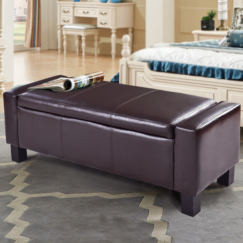 Bedroom Storage Bench - Leather Bedroom Storage Ottoman Bench - Voodeal