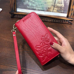 Wristlet Wallet  - Genuine Leather Embossing Wallets For Women - Voodeal