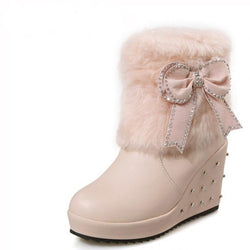 Women's Winter Boots - Furry winter Boots With Bow - Voodeal