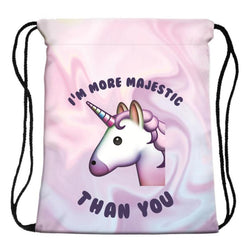 Unicorn Backpack - Unicorn emoji Drawstring Bag - Voodeal