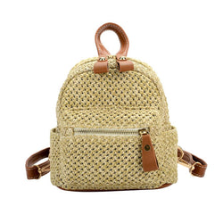 Mini Backpack Purse - Straw Plaid Mini Travel Backpack Purse
