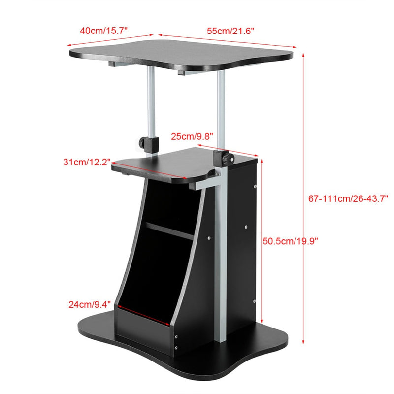 Standing Desk - Adjustable Rolling Computer Cart on Wheels