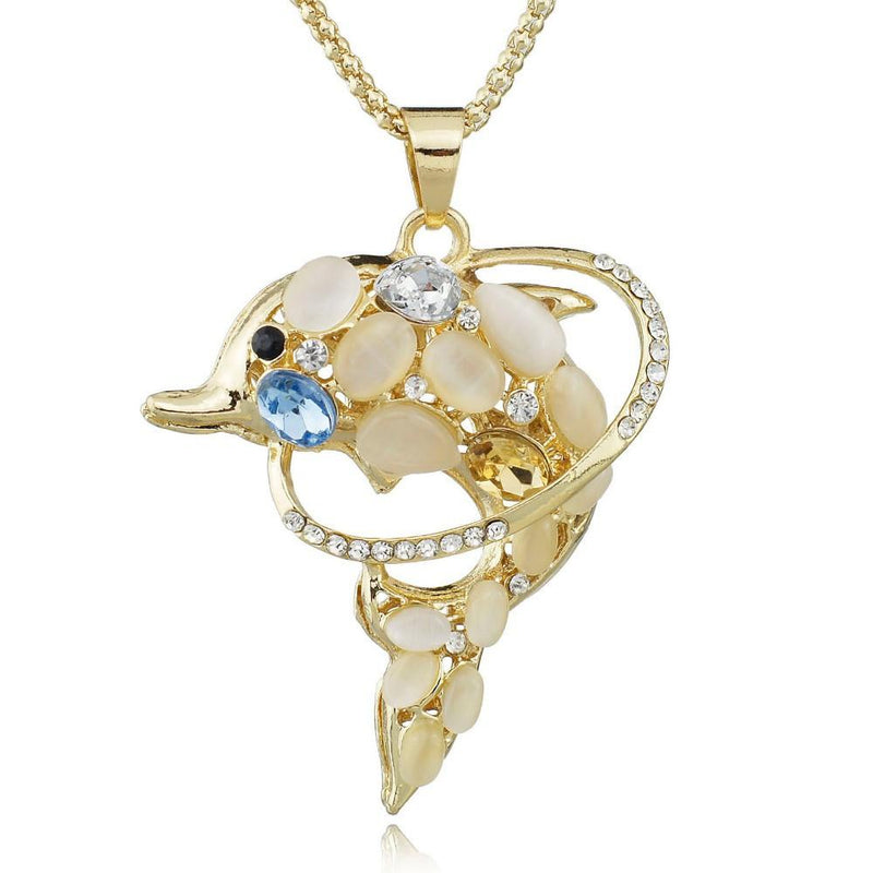 Opals Crystal Dolphins Long Chain Necklaces - Voodeal