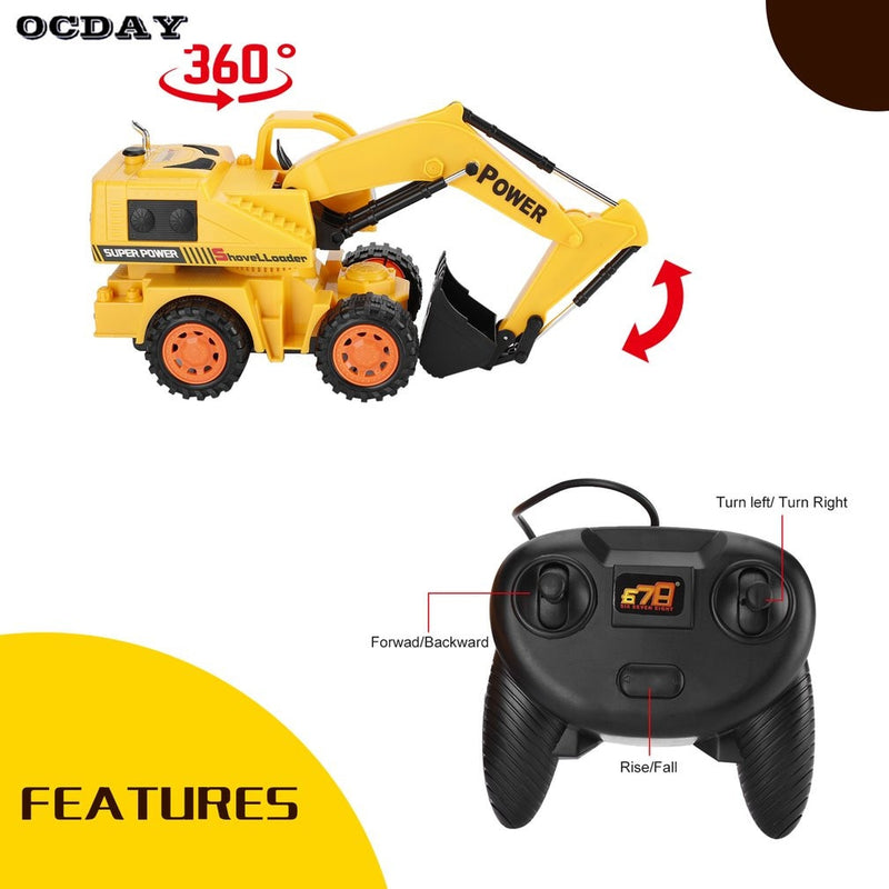 RC Excavator Hydraulic - 5CH LED Wheel Excavator Charging RTR Remote Kids Toys