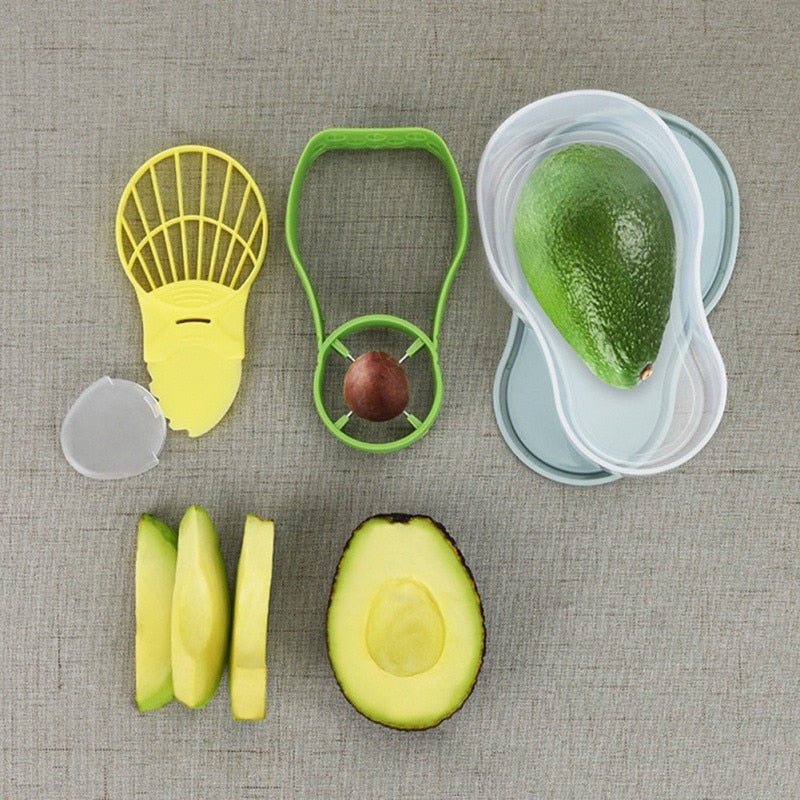 Avocado Slicer Kit - 3-in-1 Avocado Slicer | Storage Container Shea Corer Butter Kitchen Tools - Voodeal
