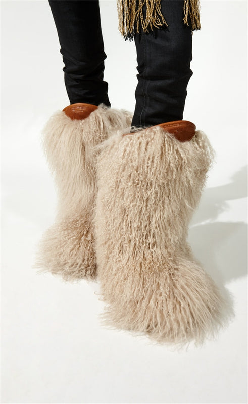 Women Snow Boots - Real Ostrich Furry Boots - Voodeal