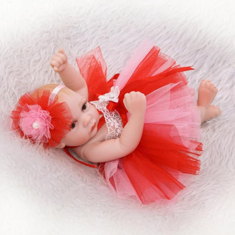 Silicone Baby Dolls - Red Dress Realistic Reborn Toddlers Dolls | 10 Inch