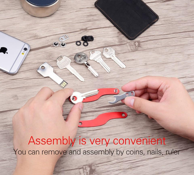 Key Organizer S Shape Compact Smart Key Key chain Fit up to 10 Keys - Voodeal