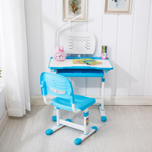 Blue Adjustable Children's Study Desk Chair Set Child Kids Table W/Desk Led Lamp