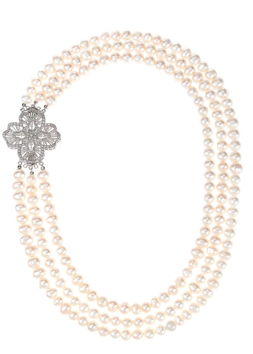 Triple strands of white pearl short necklace with CZ studded vintage brooch accent