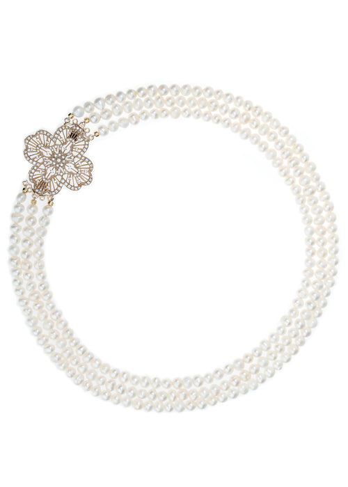 Triple strands of White pearl short necklace with CZ studded vintage brooch accent Antique Gold finish