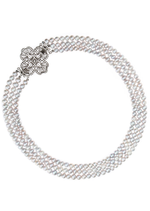 Triple strands of Gray pearl short necklace with CZ studded vintage brooch accent Gunmetal finish