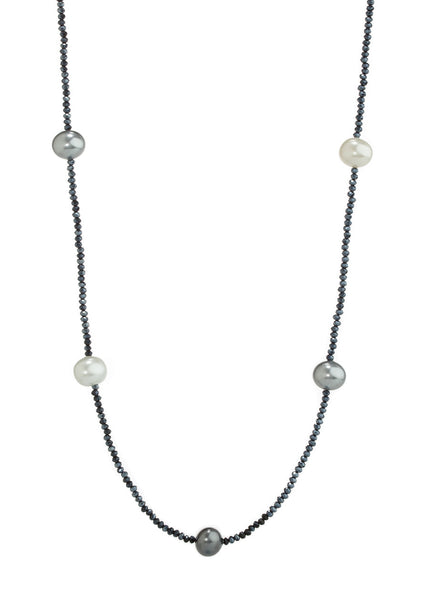 Shell Pearl stationed Swarovski crystal long strand necklace, Navy, white, Gray, Dark Gray combo