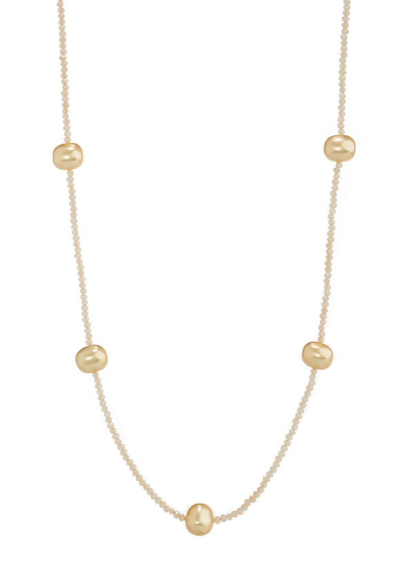 Shell Pearl stationed Swarovski crystal long strand necklace, Nude, Gold combo
