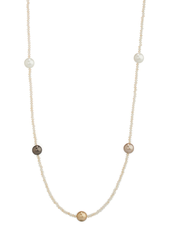 Shell Pearl stationed Swarovski crystal long strand necklace, Ivory, Bronze, Gold, Gray, Gold combo