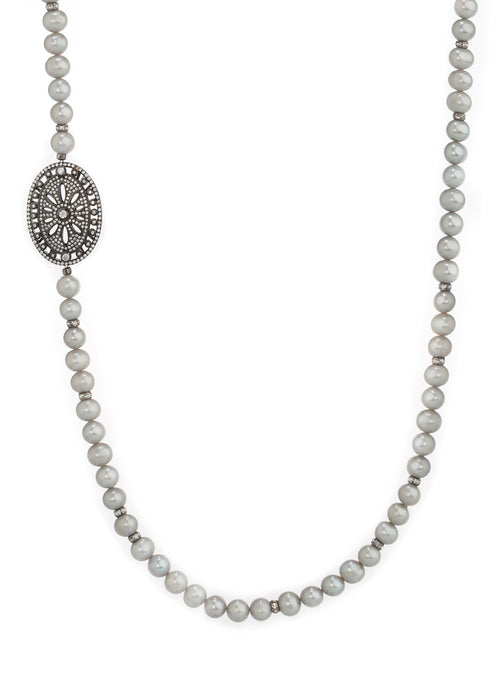 Single long strand of Gray pearl with CZ spacers, Gun metal finish