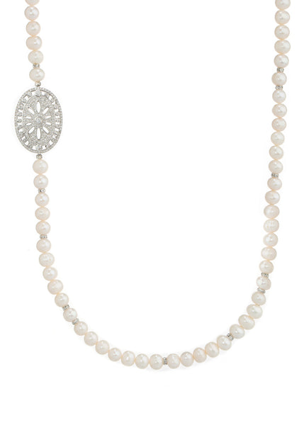 Single long strand of White pearl with CZ spacers, White Gold finish