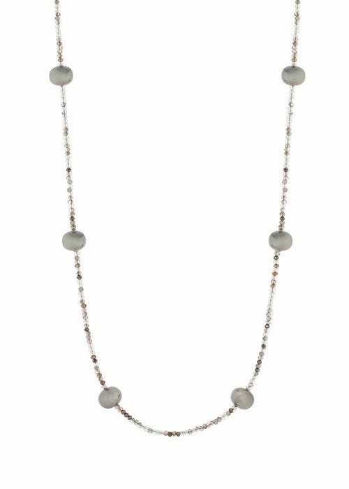 Shell Pearl stationed Swarovski crystal long strand necklace, Ice Multi combo