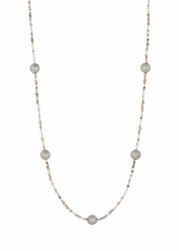 Metallic Shell Pearl stationed Swarovski crystal long strand necklace, Ice Multi combo