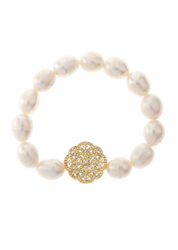 White pearl stretch bracelet accented with art deco medallion in hand set micro pave high quality CZ, Gold finish