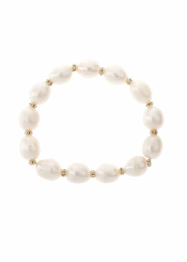 White pearl stretch bracelet accented with high quality CZ spacer, Gold finish