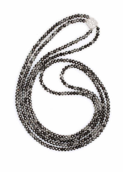 Gaia two strands long necklace with ornate hand set high quality CZ accent, White gold finish, Black Diamond