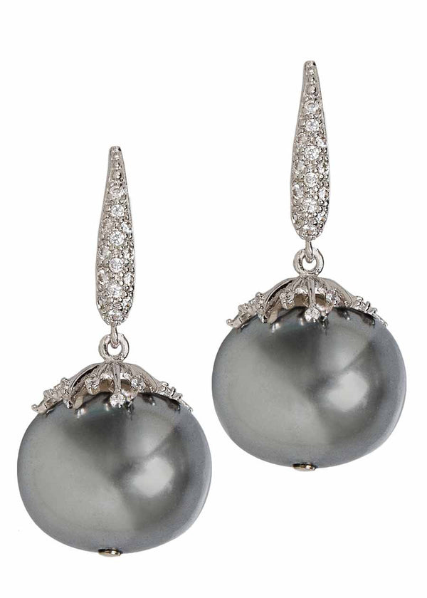 Shell pearl drop earrings with hand set micro pave high quality CZ, Dark Gray