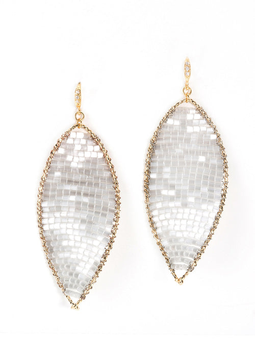Twisted Oval Crystal woven Earrings, White