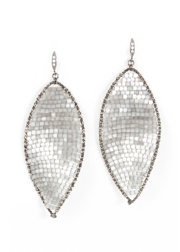 Twisted Oval Crystal woven Earrings, Gray